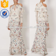 Ivory silk Floral Print Maxi Evening Dress Manufacture Wholesale Fashion Women Apparel (TA4072D)