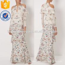 Цвета слоновой кости шелк Цветочный печать Макси вечернее платье Производство Оптовая продажа женской одежды (TA4072D)