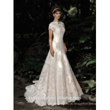 ZM16014 Western Style Champagne farbige Brautkleider mit teuer Spitze Appliqued und Backless Design Meerjungfrau Brautkleid