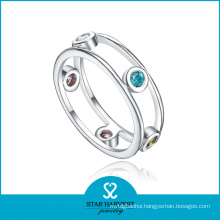 Luxury Aquamarine 925 Sterling Silver Ring for Ladies (R-0445)