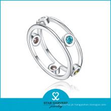 Luxo Aquamarine 925 Sterling Silver Ring para senhoras (R-0445)