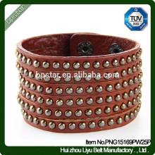 Bracelet de mode européen Bracelet de manchette en cuir pleine fleur / Mulher