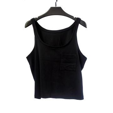 Schwarzes Tanktop für Damen mit großem Rundhalsausschnitt