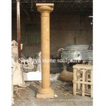 Colonne de sculpture en pierre de marbre en or pour décoration maison (SY-C017)