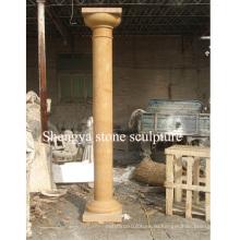 Колонка скульптуры золота мраморного камня для домашнего украшения (SY-C017)