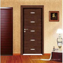 Olhar elegante pintado porta de madeira com verniz natural
