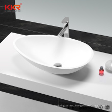 KKR Small Sizes Above Countertop Design Solid Surface Stone Oval Bathroom Basin
