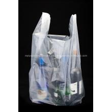 Bolsa de camiseta de compras de plástico transparente de HDPE