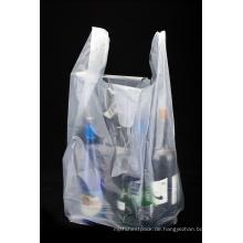 HDPE transparente Plastikeinkaufst-shirt Tasche