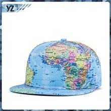 Logotipo impreso del mapa para los casquillos del snapback con precio bajo para la venta al por mayor