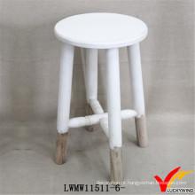 Vintage White Finish cadeira de madeira redonda fezes de jardim