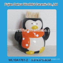 Porta-palillos de dientes de cerámica popular de forma de pingüino