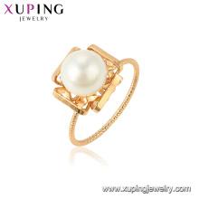 15437 xuping atacado na China fábrica de moda mais recente imitação de pérolas anel de design para as mulheres