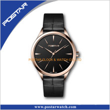 Relógios de pulso automáticos dos homens da faixa de couro de alta qualidade de Movt do suíço