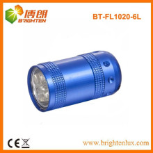 Factory Custom Made Metal 6 led Cheap Small Flashlight Torch With Keychain or Wrist Strap