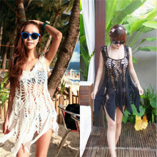 Estilo coreano escavar Lace Cover up vestido Swimwear (50166)