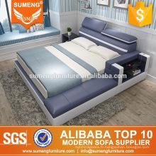 ensembles de meubles de chambre à coucher en cuir de luxe modernes avec une table de chevet