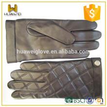 Classic rhombus Lattice men's Sheepskin leather Touchscreen gloves