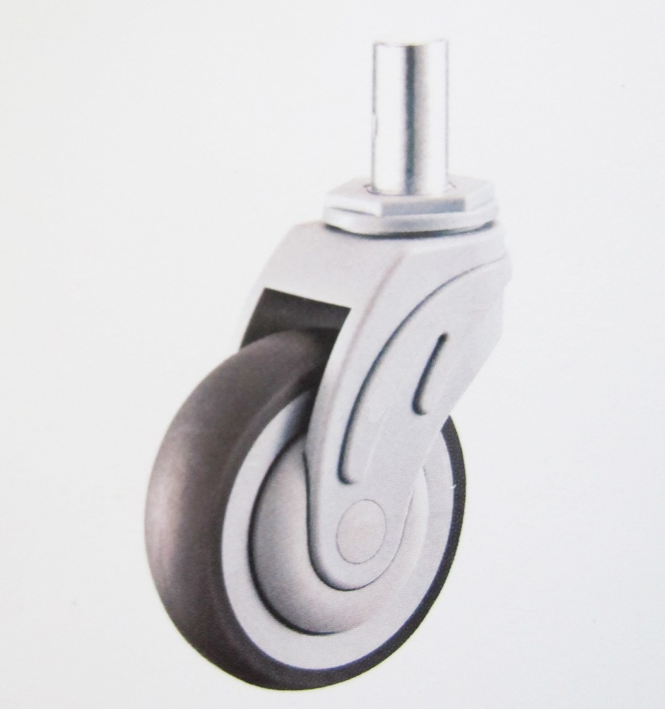 Plastic Medical Swivel Caster Wheel Solid Stem Round Rim