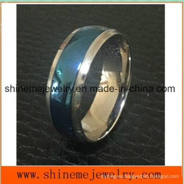 Shineme Moda de la joyería entre el anillo Titanium azul y de plata (TR1918)