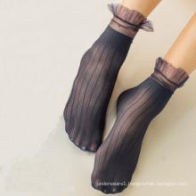 Summer Frilly Design Velvet Transparent Black Lace Socks Women