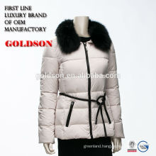 Women Big Fox Fur Collar Down Jacket With Leather Waist Belt winter jacket