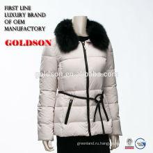 Женщин большой Фокс меховым воротником вниз куртка с кожаный поясом куртка