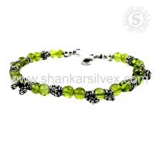 Scrumptious design peridot gemstone silver bracelet 925 sterling silver bracelets jewellery wholesalers