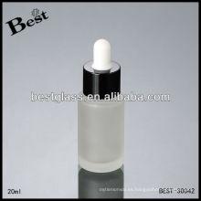 Botella esmerilada suero de 20 ml con tapa negra y gotero blanco