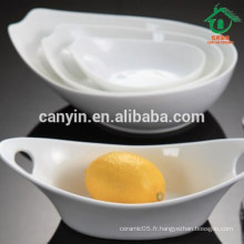 China Factory Daily Use White Porcelain Ceramic Boat Soup Bowl