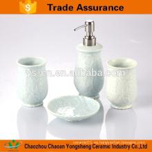 Accesorios de baño de cerámica moderna 4-pc de la relevación de la flor