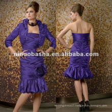Taffeta Ruched Tea Length With Flower Detail Mother of Bride Dresses