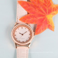 good quality fashion diamond watch ladies , PU leather belt watch