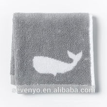 common jacquard fish grey Face Towel wash cloth Soft FT -034