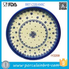 Belle plaque de céramique motif bleu blanc