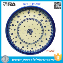 Nice Looking White Blue Pattern Ceramic Plate