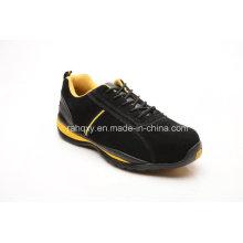 Camurça único cimento de borracha superior sapatas de segurança (LZ5002)