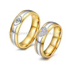 Anneau de couple gravé en acier de titane le plus vendu, doigt tournant les anneaux de mariage réglés