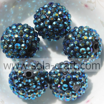 18 * 20mm AB blu scuro resina acrilica strass sfere perline grosso accessorio