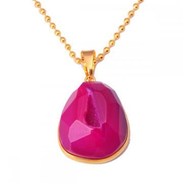 Amethyst Aagate pendant Gold Chain Necklace