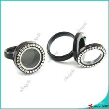 Anillo de cristal flotante negro locket para los niños (lr16041205)
