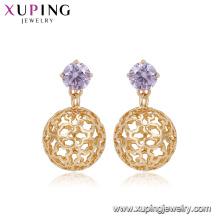 94918 Pendientes de esfera de cobre ambientales de diseño exclusivo para dama, joyas de piedra con piedra artificial
