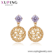 94918 Unique design fashionable lady jewelry environmental copper sphere earrings with artificial stone