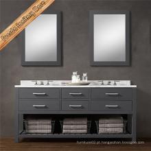 Casa de banho de madeira sólida Vanity Double Basin Bathroom Cabinet