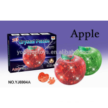 YJ 3D puzzle DIY crystal apple puzzle with light 45pcs for kids