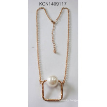 Metal Plated Square Necklace with Pearl Pendant