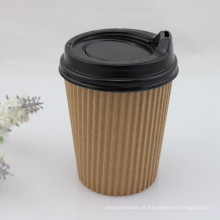 Ondulado, murado, papel, café, copo