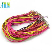 Cordón negro ajustable del collar de la imitación de cuero con el corchete de la langosta para la joyería de DIY, 100pcs / pack, ZYN0003-mix