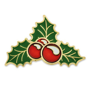 Custom Metal Holly Berry Pin Christmas Gift