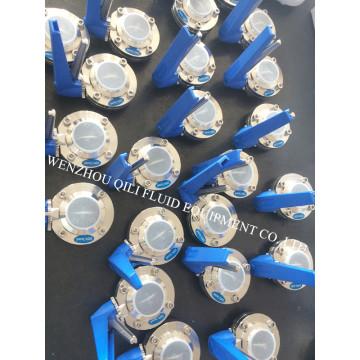 Válvula de mariposa sanitaria multiposición de acero inoxidable Ss316L soldada y rosca